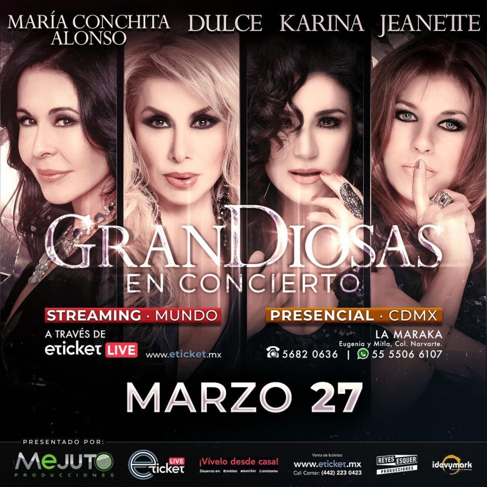 Magistral concierto el próximo 27 de marzo en La Maraka, con la participación estelar de María Conchita Alonso, Dulce y Karina